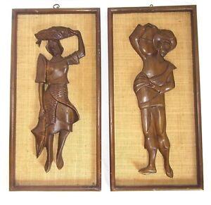 Tiki Boho Man and Woman Tropical Carved Wood Vintage Wall ...