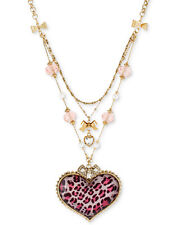 BETSEY JOHNSON Pink Leopard Heart Pendant Gold-Tone Tiered Necklace