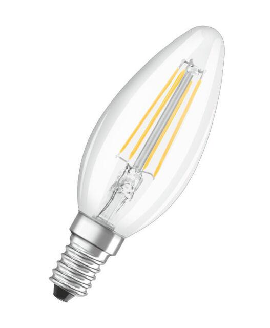 Ampoule bougie LED 4w SES E14 Claire à Filament 2700k blanc très chaud Ledvance