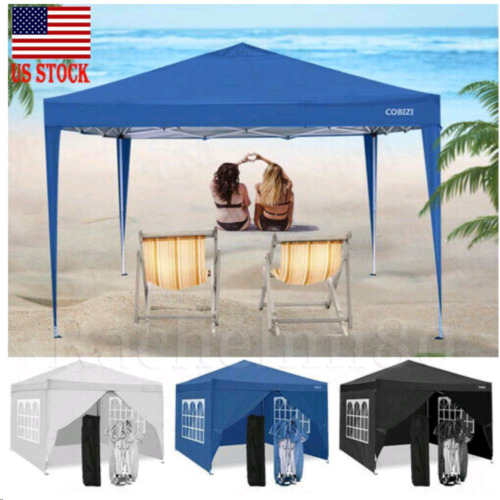 Details about  /10/'x10/' Heavy Duty Tent Folding Wedding Party Tent Gazebo with 4 Side Walls ////