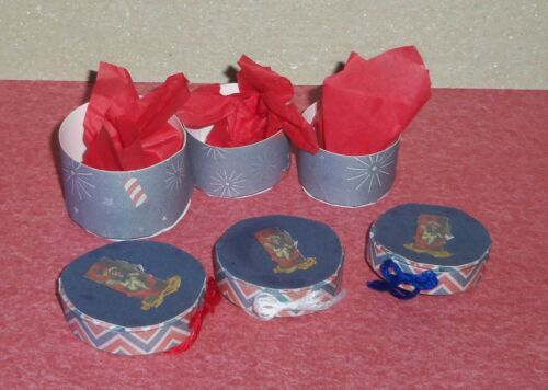 Dollhouse Miniature 3pc Round Storage Hat Box 4th of July Patriotic Handcrafted