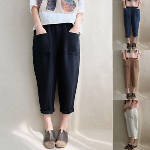 New-Women-039-s-Elastic-High-Waist-Cotton-Linen-Baggy-Harem-Pants-Trousers-Plus-Size