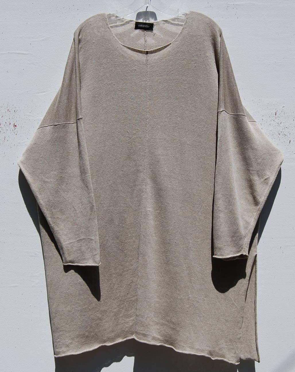 NEW Eskandar NATURAL Light Weight Linen Knit 36  Long Tunic Sweater O S  1190