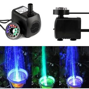 Submersible water pump with 12 led light for fountain pool for Koi pond underwater lighting