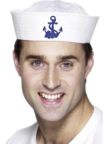 UU Para Hombre US Marinero Doughboy Elaborado Vestido Sombrero Con Ancla Marina de EE Nuevo por Smiffys