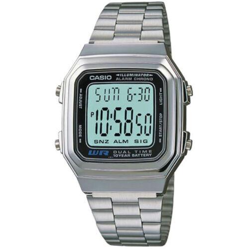 1 von 1 - Casio Uhr A178WEA-1A Retro Digitaluhr Armbanduhr Herren Damen Silber NEU & OVP