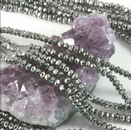 AAA 1000pcs 3x4mm Silver Gray Crystal Faceted Loose Beads