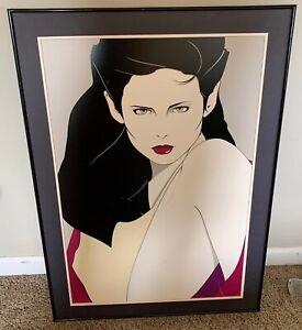 Patrick-Nagel-original-signed-silkscreen-Woman-Nude-Vintage-80s