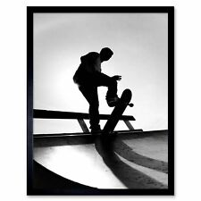 Skateboarder Halfpipe Drop 12X16 Inch Framed Art Print
