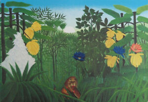 Rousseau-Henri-the-Lunch-of-Lion-Lithography-Original-Signed-1976