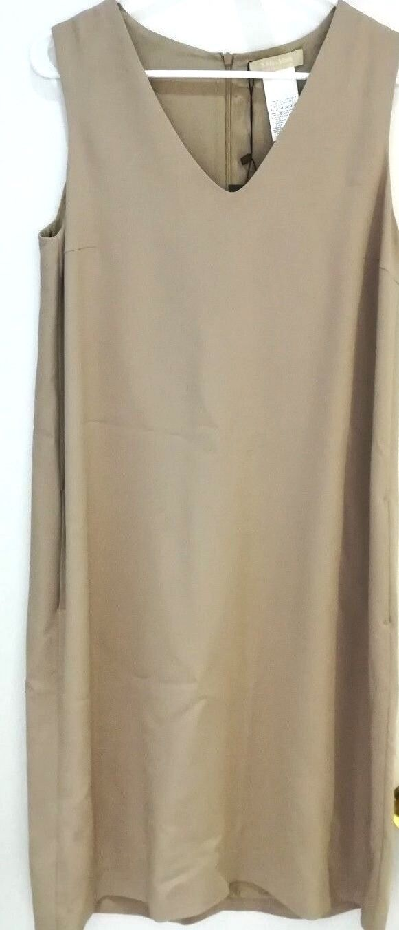 MAX MARA WOMEN'S VERS ELEGANT TAUPE SLEEVELESS A-LINE VIGILE DRESS Sz 12 NWT