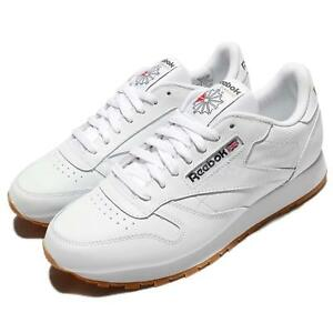84aec271b13 Reebok CL LTHR Leather White Gum Retro Men Running Shoes Sneakers ...