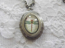 Dragonfly Locket Necklace Memory Keepsake JEWELRY Pendant PHOTO URN FUNERAL HAIR