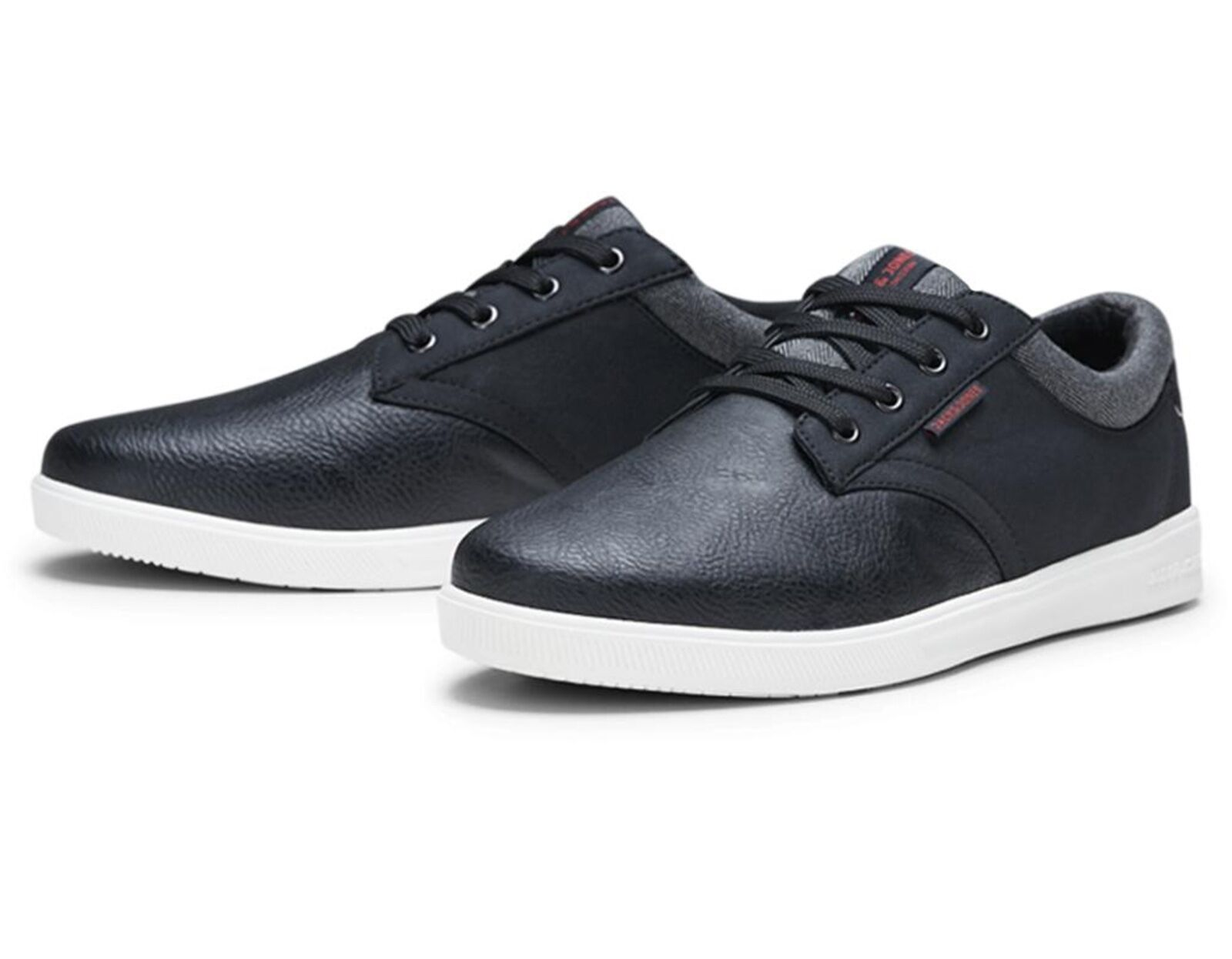 JACK & JONES  Uomo Gaston Synthetic Leder Schuhes Trainers Sneakers Anthracite