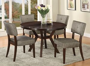 Details About Contemporary Casual Modern Espresso Finish Round Dining Table Set 5pc