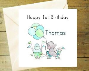 Image Is Loading Personalised 1st Birthday Card Glitter Detail Gift Blue