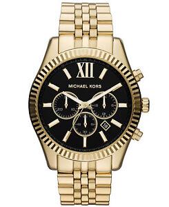 Michael-Kors-Original-MK8286-Men-039-s-Stainless-Steel-Gold-Tone-Black-Chrono-Watch