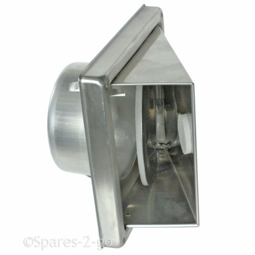 """Steel Air Con Wall Air Vent External Cowled Hood Outlet Non Return Flap 5/"""" 125mm"""
