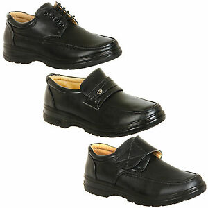 Mens-Black-Comfort-Shoes-Velcro-Slip-Ons-or-Lace-Ups-Size-6-7-8-9-10-11-12