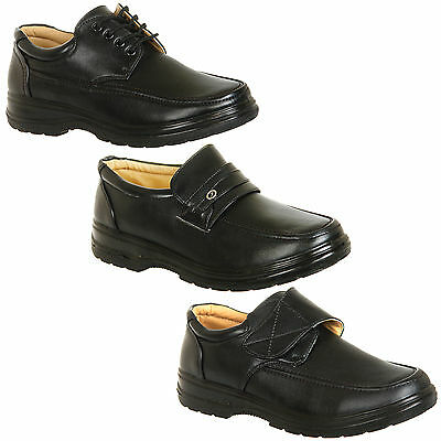 Mens Black Comfort Shoes Velcro, Slip Ons or Lace Ups Size 6 7 8 9 10 11 12