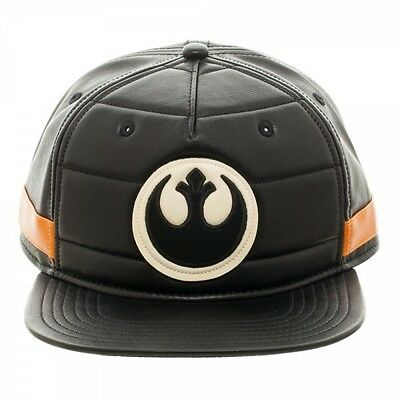 OFFICIAL STAR WARS BLACK SQUADRON COSTUME STYLED BLACK PU SNAPBACK CAP (NEW)