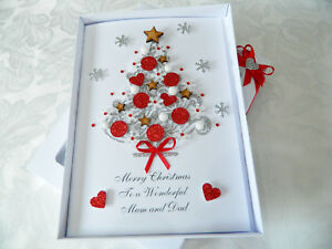 Luxury Personalised Handmade Christmas Card Husband Wife Mum Dad 3d