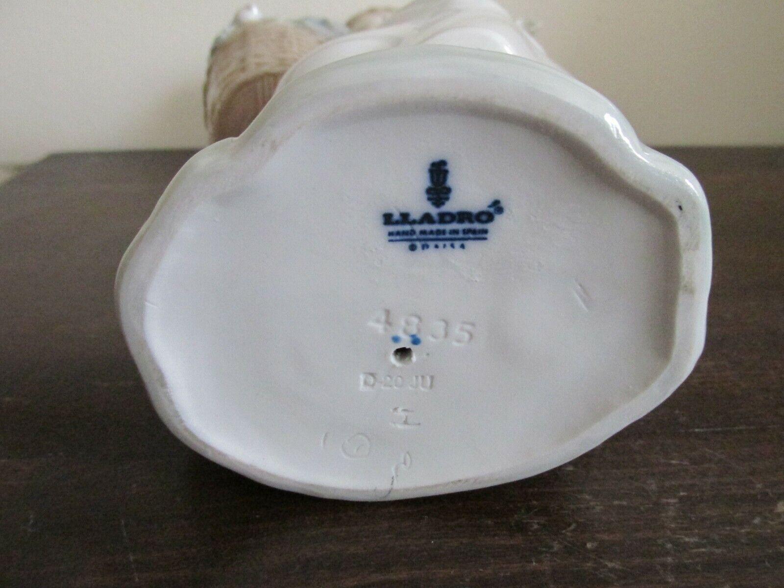 Image 8 - Lladro-Spain-Porcelain-Figurine-Girl-With-Lamb-amp-Basket-4835