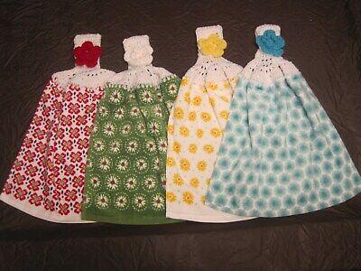 4 Farm Decor Pioneer Woman Crochet Top Kitchen Towel Dazzling Dahilas Set of