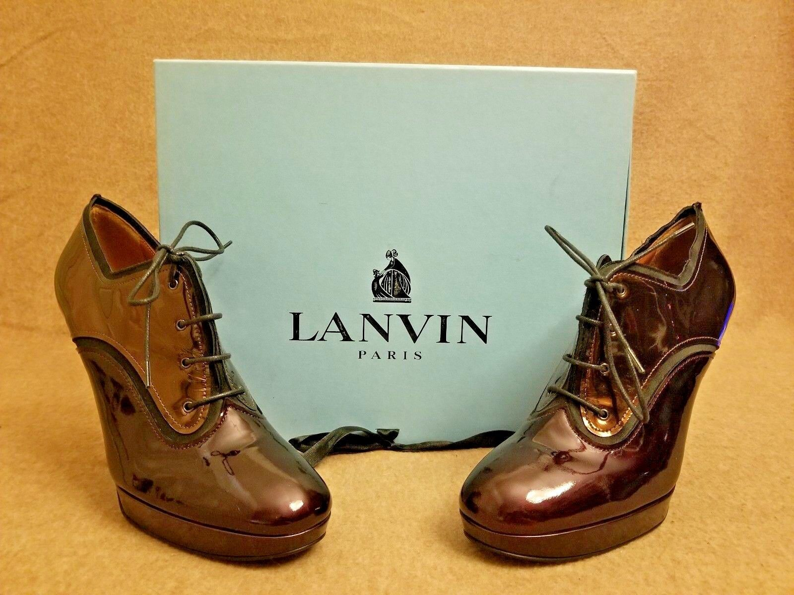 New Lanvin Women Boots Bronze Patent Leather Lace Up Ankle Heel Booties Size 38