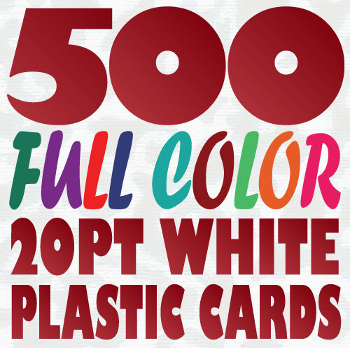 500 full color custom 20pt white plastic business card printing w round corners ebay - Plastic Business Card Printing