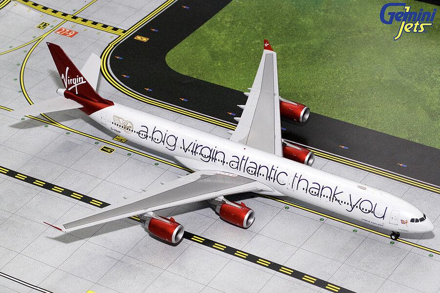 tomamos a los clientes como nuestro dios Virgin Atlantic Airbus A340-600 A340-600 A340-600 G-vnap Gemini Jets G2VIR732 escala 1 200  servicio de primera clase