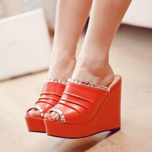 2019 Womens Ladies Wedge High Heels Platform Open Toe Causal Sandals Pumps Shoes