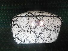 Victoria's Secret Large Black WhiteSNAKE SKIN DESIGN  Makeup Bag Cosmetic Case