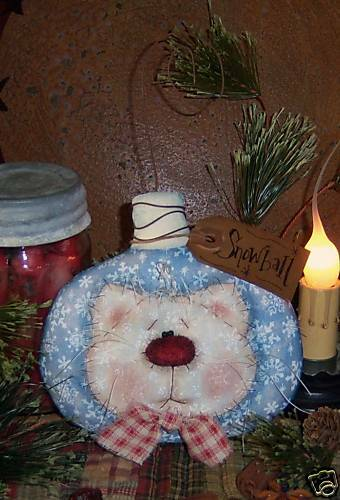 Primitive Christmas Kitty Cat Ornie Doll Paper Pattern #399
