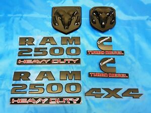 FOR Dodge RAM 2500 Grille Tailgate Cummins Turbo Diesel Emblem Badge Black 2 PC
