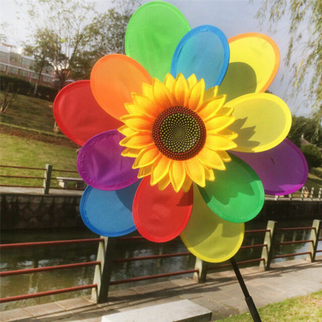 8AEF Sunflower Windmill Party Outdoor Home Garden Whirligig Lawn 3D Wind Spinner