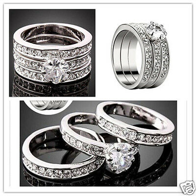 3pcs/ set Silver p Women men 3D Zirconia Band Ring Size 7-9 Wedding Gift