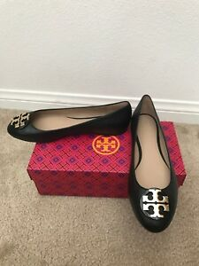 8114e3da7 NIB TORY BURCH Black Claire Ballet Flat- Tumbled Leather    CHOOSE ...