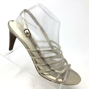 841bc1f4bdd Via Spiga Silver Leather Strappy Dress Heel Caged Sandal Womens Shoe ...