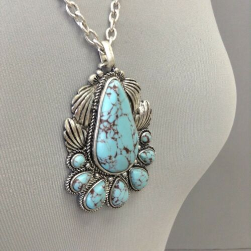 Boho Style Silver Finish Turquoise Stone Tear Drop Pendant Necklace /& Earrings