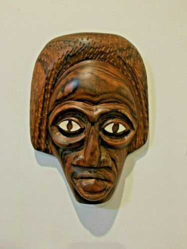 BRT Hand Carved Vintage Patterned Hard Wood Wall Mask Africa Shell Inlay Eyes