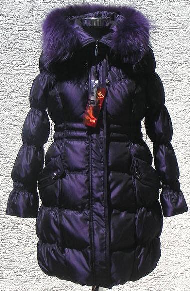 Daunenmantel Daunenjacke Winterjacke Damen in Blaulila mit Kapuze Pelz Outdoor