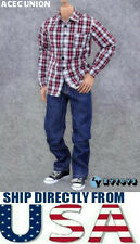 "U.S. SELLER - 1/6 Black Red Plaid Long Sleeves Shirt Jeans Set For 12"" Figures"