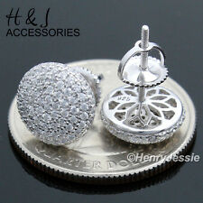 MEN 925 STERLING SILVER 9MM ICED OUT BLING ROUND SCREW BACK STUD EARRING*E81