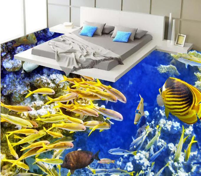 3D Golden Fishs 543 Floor WallPaper Murals Wall Print 5D AJ WALLPAPER UK Lemon