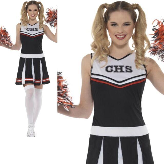 7d0ea3064c62 Ladies Cheerleader Costume + Pom Poms High School Adult Women Fancy Dress  New