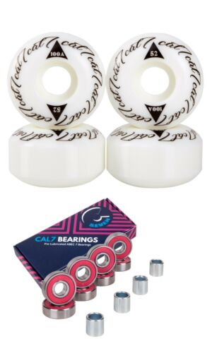Cal 7 Skateboard Wheels 52mm 100A Small Fast Trick Street Bearings Set