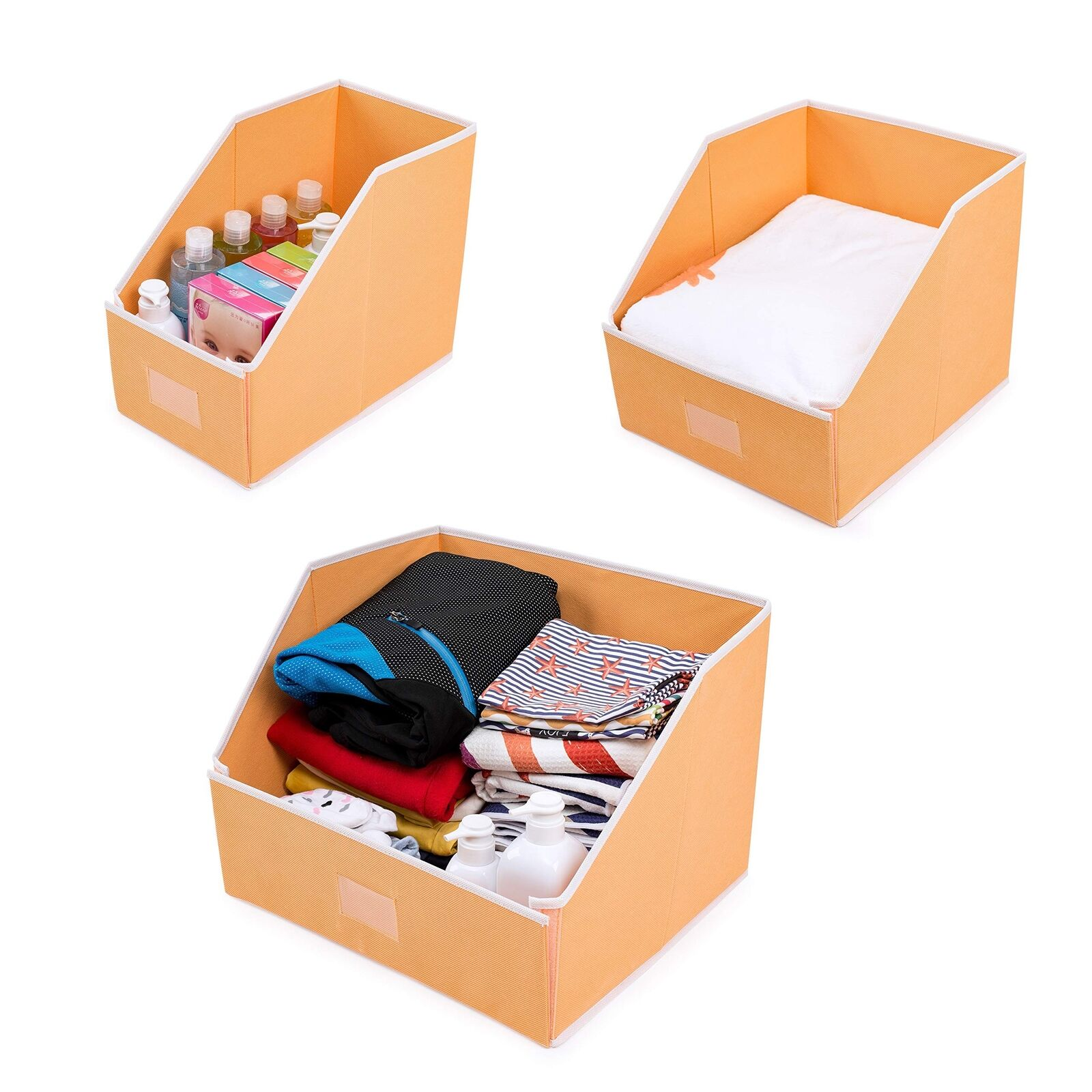 Linen Closet Storage Organizers Set Of 3 Foldable Fabric Bins Baskets To Get