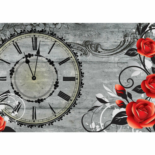 2993 Fototapete Blumen Blüte Rose Ranke Malerei Uhr Zeit liwwing no
