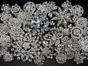 Lot-30pc-Mixed-Sliver-Rhinestone-Crystal-Brooches-Pin-DIY-Wedding-Bridal-Bouquet